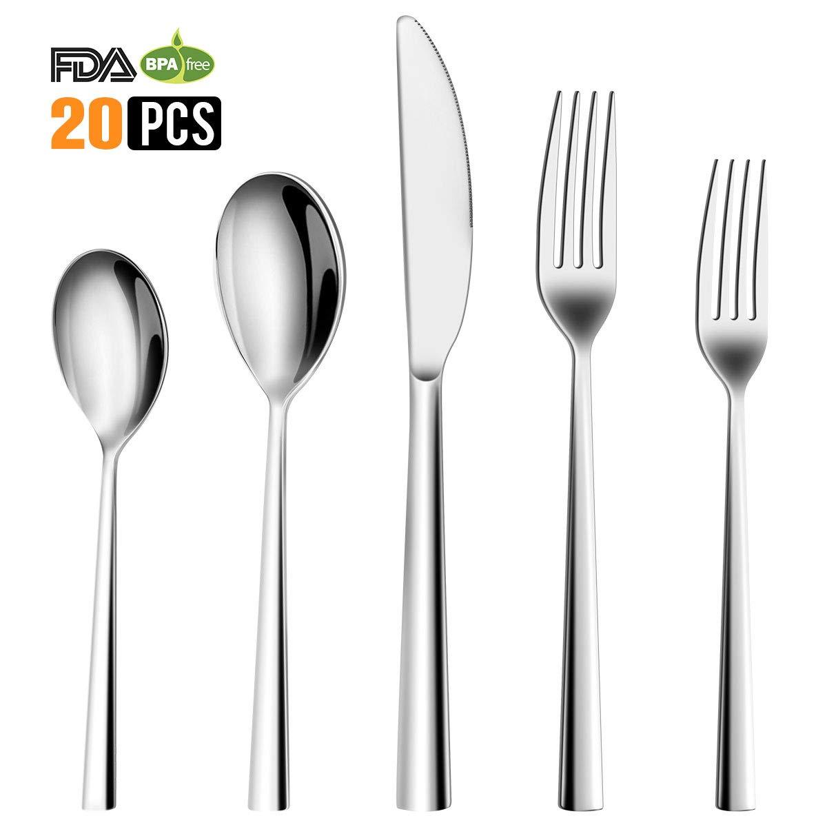 Silverware Set, 20 Piece Flatware Set 18/10 Stainless Steel Mirror Polished Cutlery Set, Forks Spoons Knives Set for Home Kitchen Restaurant Tableware Utensils Service for 4, Dishwasher Safe