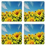 MSD Square Coasters Non-Slip Natural Rubber Desk Coasters design 34781193 sunflower with day and blue sky background