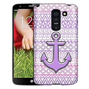 LG G2 Case, Slim Fit Snap On Cover by Trek Anchor on Aztec Andes Purple Tribal White Case