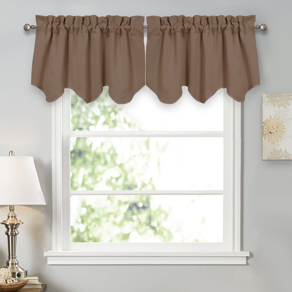 PONY DANCE Scalloped Valances Blackout - Window Covering Short Valance Tiers Home Decorative Light Block Curtain Shade for Kitchen, 42 Wide by 18 inch Long, Mocha, 2 Pieces