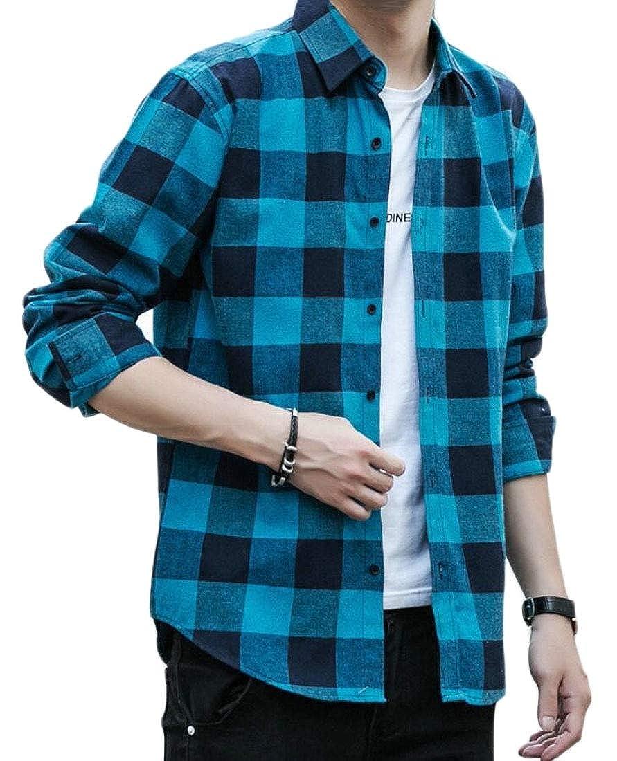 YIhujiuben Mens Long Sleeve Plaid Regular Fit Casual Shirt Button Front Shirts