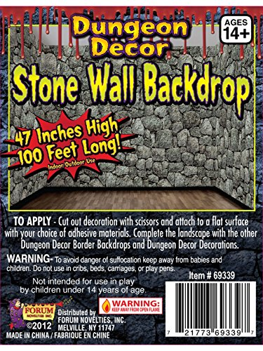 Forum Novelties Dungeon Decor Indoor/Outdoor Stone Wall Backdrop, 100', (Picture Novelty)