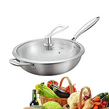 Sartén Sartenes wok Antiadherentes Induccion Para Todo Tipo de cocinas Incluido 304 Acero inoxidable, plata