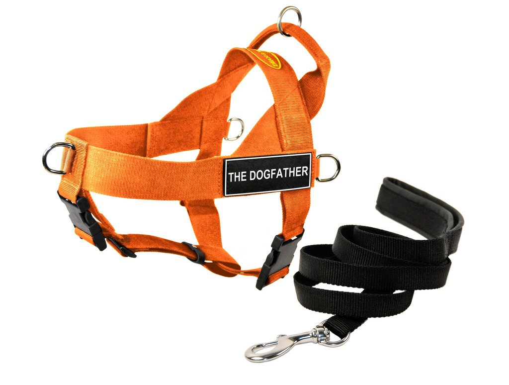 Dean & Tyler DT Universal No Pull Dog Harness with The Dogfather  Patches and Puppy Leash, orange, Small