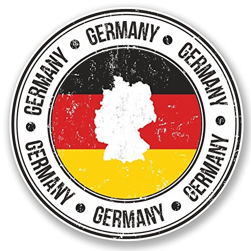 hiusan 2 x Deutschland Germany German Flag Map Vinyl Stickers Decals Travel Luggage Tag Lables Car Window Laptop Ipad Envenlop Stickers (10cm x 10cm)