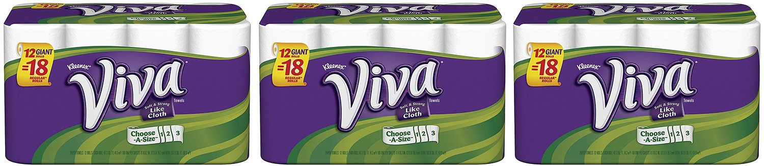 Viva Choose-a-Size Giant Roll Paper PDNUo Towels, 12 Count (3 Pack)