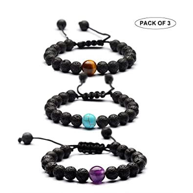 Mesinya Lava Rock Essential Oil Diffuser Bracelet Aromatherapy Yoga Adjustable Braided Rope 8MM Natural Stone Bangle