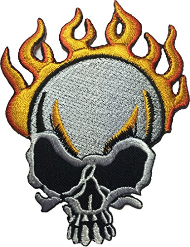 Skull Burn on Fire Motorcycles Biker Embroidered Sewing Iron on Patch (Cabana Sun Club)