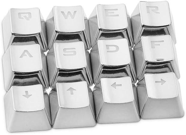 Hongfei 12 MX Keycaps Set para teclados mecánicos FPS y MOBA Gaming QWER/ASDF/WASD/Teclas de dirección con Key Puller plata