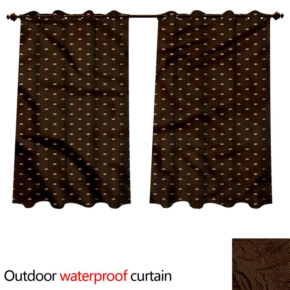 cobeDecor Abstract 0utdoor Curtains for Patio Waterproof Cupcake Pattern Hearts W84 x L72(214cm x 183cm) by cobeDecor