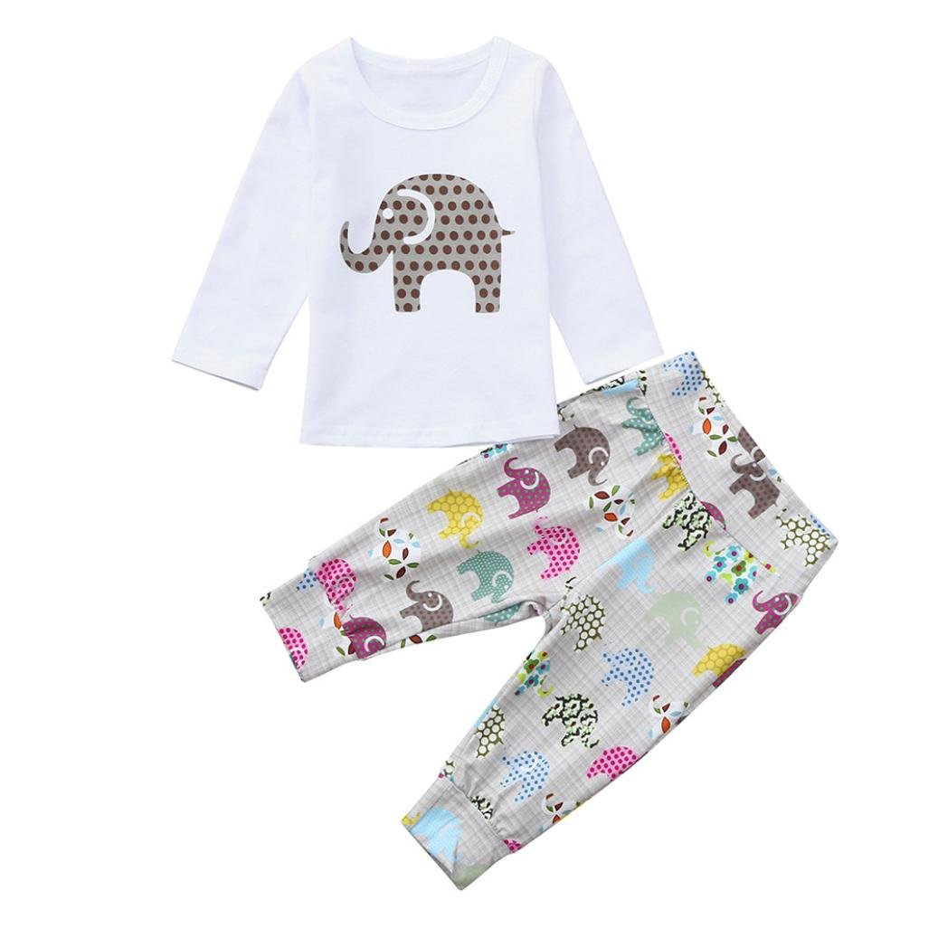 WARMSHOP 2 PC Baby Boys Girls Clothes Set Elephant Print Long Sleeve Tops+Pants Sleepwear Casual Pajamas Outfits Set China