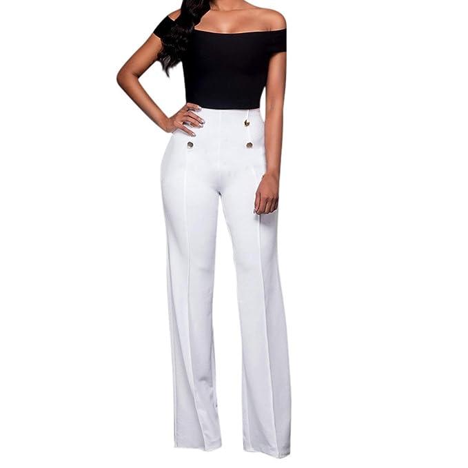 Mujer Pantalones Baggy Elegantes Cintura Alta Slim Fit ...