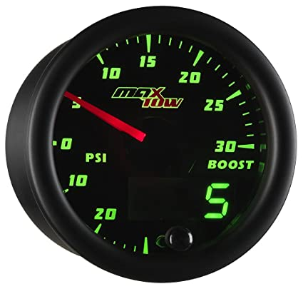 MaxTow Double Vision 30 PSI Turbo Boost/Vacuum Gauge Kit - Includes Electronic Pressure Sensor