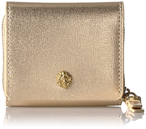 5 French Purse Wallet (Metallic French Bi-fold Wallet Wallet, METALLIC GOLD / METALLIC GOLD / LEAD, One Size)
