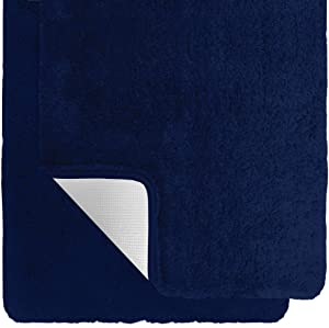 Gorilla Grip Original Premium Luxury Bath Rug, Set of 2 30x20 Inch Rugs, Incredibly Soft, Thick, Absorbent Bathroom Mat Rugs, Machine Wash and Dry Carpet, Plush Mats for Bath Room, Shower, Navy Blue
