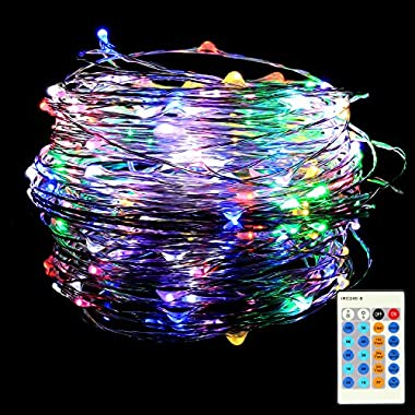 Homdox Colorful Dimmable LED String Light, 33ft Copper Wire Fairy Starry String Light Rope Lights for Indoor Outdoor Bedroom Garden Decor, Remote Control