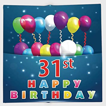 Cotton Microfiber Hand Towel31st Birthday DecorationsJoyful Occasion Party Theme With Colorful Balloons