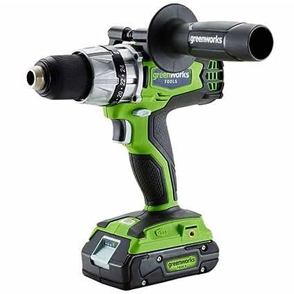 Greenworks 3701607 Taladro Atornillador Sin Escobillas Inalámbrico 24 V, Verde