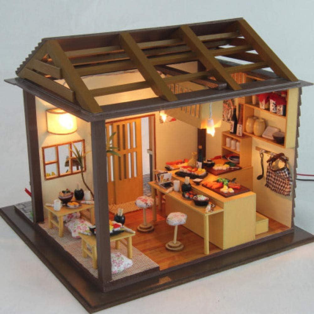 Amazon.es: QIANBAOBAO Casa De Bricolaje Restaurante De Sushi De Cereza Choza De Bricolaje: Juguetes y juegos