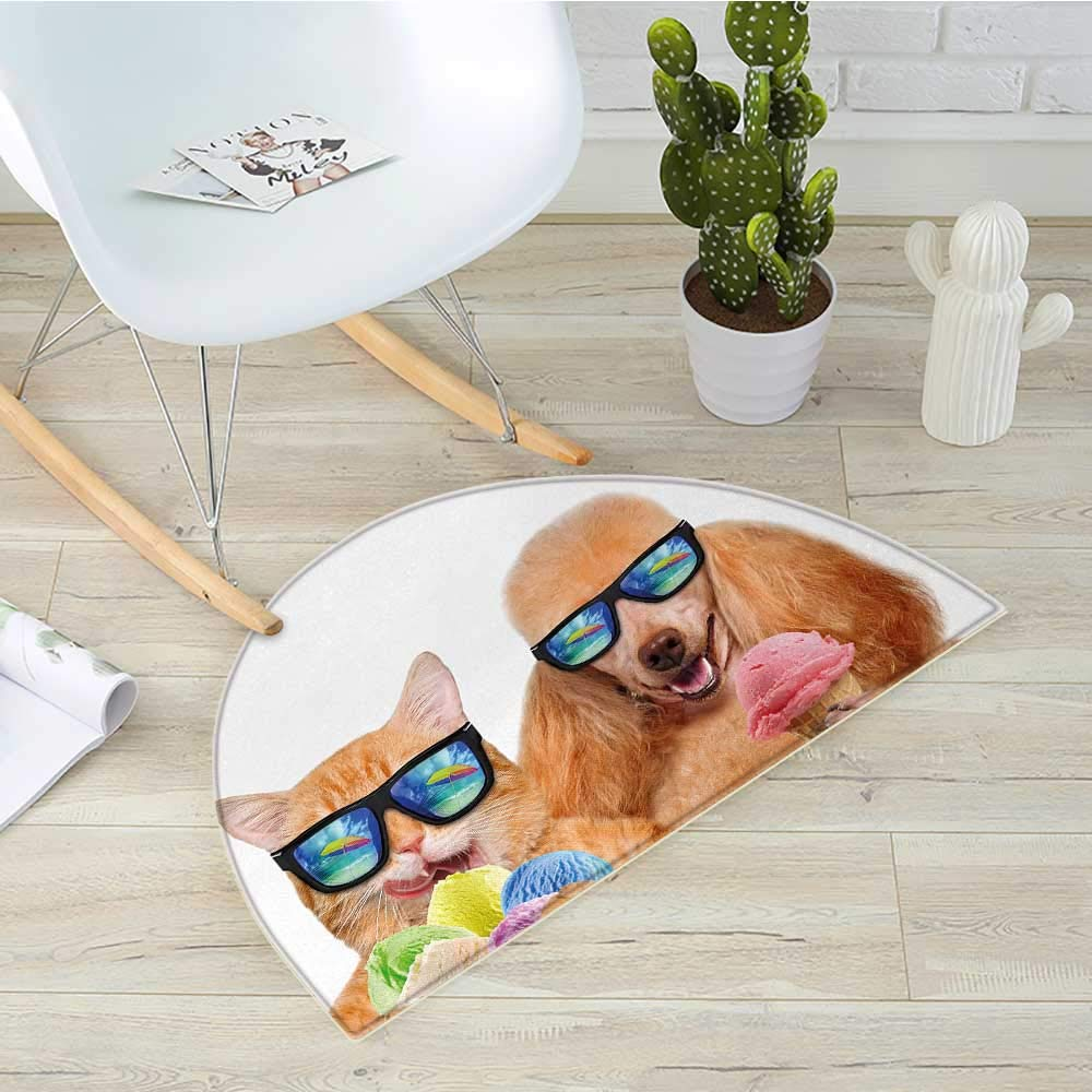 Animal Semicircle Doormat Cat Dog Pet with Sunglasses Eating Ice Cream Retro Cool Vintage Pop Artwork Image Halfmoon doormats H 39.3'' xD 59'' Multicolor by Stevenhome