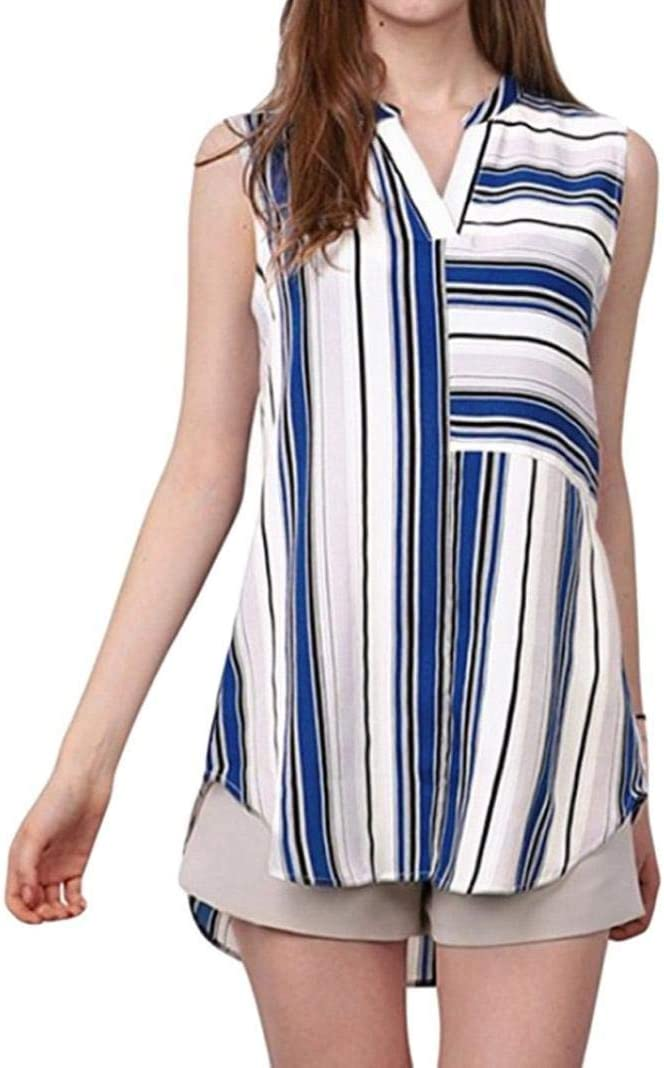 T-Shirt Mujer Verano Elegantes Chic Moda Casual Ropa Pin-Up Hipster Hipster Camisas Sleeveless V-Cuello Rayas Verticales Irregularmente Asimetricos Tops Shirts: Amazon.es: Ropa y accesorios