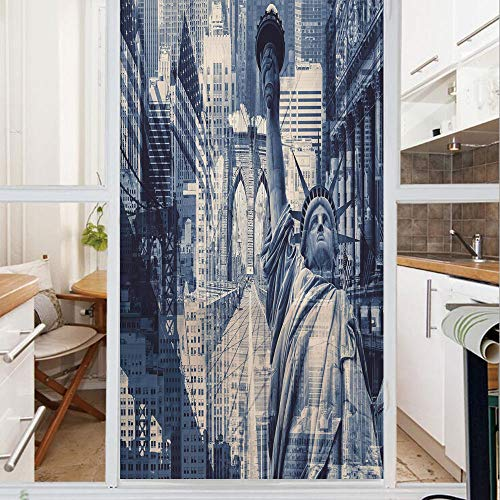Decorative Window Film,No Glue Frosted Privacy Film,Stained Glass Door Film,Double Exposure Image of Statue of Liberty with New York Buildings,for Home & Office,23.6In. by 47.2In Dark Blue Purplegrey