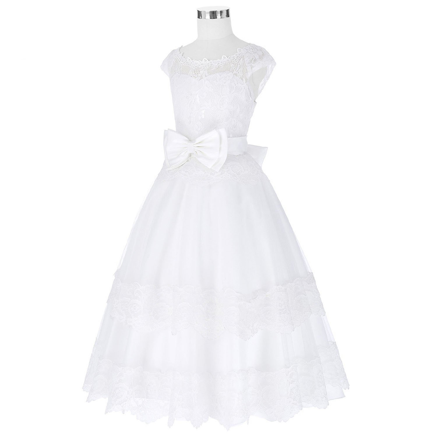 Toping Fine girl dress Lace Flower Girl for Wedding Princess Party Birthday Baby Girls Communion Ball Gown, Child-3, by Toping Fine girl dress (Image #4)