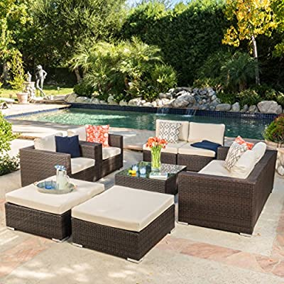 "Cortez Sea 9 Piece Outdoor Wicker Furniture Sectional Sofa Set - Includes: Two (2) Club Chairs, Two (2) Armless Chairs, One (1) Left Arm Chair, One (1) Right Arm Chair, Two (2) Ottomans, and One (1) Table Club Chair Dimensions: 33.25""D x 33.25""W x 24.40"" H; Seat Width: 28.75""; Seat Depth: 26.00""; Seat Height: 12.10""; Armless Chair Dimensions: 33.25""D x 22.50""W x 24.40""H; Seat Width: 33.25""; Seat Depth: 26.00""; Seat Height: 12.10""; Left and Right Arm Chair Dimensions: 33.25""D x 33.25""W x 24.40""H; Seat Width: 28.75""; Seat Depth: 26.00""; Seat Height: 12.10""; Ottoman Dimensions: 33.46""D x 30.70""W x 15.12""H; Table Dimensions: 33.25""D x 30.50""W x 13.10""H This outdoor wicker sectional sofa set offers soft water-resistant cushions that are both classy and comfortable. Whether you're entertaining guests or just enjoying a cozy weekend with your family, you now have ample space to sit and relax together outside. The two matching ottomans and glass top table provide all the convenience of the indoors while enjoying your outdoor living space - patio-furniture, patio, conversation-sets - 61xeaoP12rL. SS400  -"