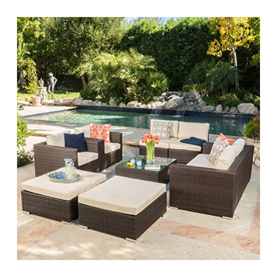 """Cortez Sea 9 Piece Outdoor Wicker Furniture Sectional Sofa Set - Includes: Two (2) Club Chairs, Two (2) Armless Chairs, One (1) Left Arm Chair, One (1) Right Arm Chair, Two (2) Ottomans, and One (1) Table Club Chair Dimensions: 33.25""""D x 33.25""""W x 24.40"""" H; Seat Width: 28.75""""; Seat Depth: 26.00""""; Seat Height: 12.10""""; Armless Chair Dimensions: 33.25""""D x 22.50""""W x 24.40""""H; Seat Width: 33.25""""; Seat Depth: 26.00""""; Seat Height: 12.10""""; Left and Right Arm Chair Dimensions: 33.25""""D x 33.25""""W x 24.40""""H; Seat Width: 28.75""""; Seat Depth: 26.00""""; Seat Height: 12.10""""; Ottoman Dimensions: 33.46""""D x 30.70""""W x 15.12""""H; Table Dimensions: 33.25""""D x 30.50""""W x 13.10""""H This outdoor wicker sectional sofa set offers soft water-resistant cushions that are both classy and comfortable. Whether you're entertaining guests or just enjoying a cozy weekend with your family, you now have ample space to sit and relax together outside. The two matching ottomans and glass top table provide all the convenience of the indoors while enjoying your outdoor living space - patio-furniture, patio, conversation-sets - 61xeaoP12rL. SS570  -"""