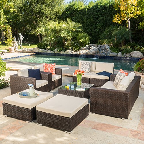 Cortez Sea 9 Piece Outdoor Wicker Furniture Sectional Sofa Set For Sale