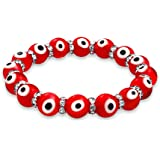 Evil Eye Glass Red Stretch Crystal Bracelet Silver Plated