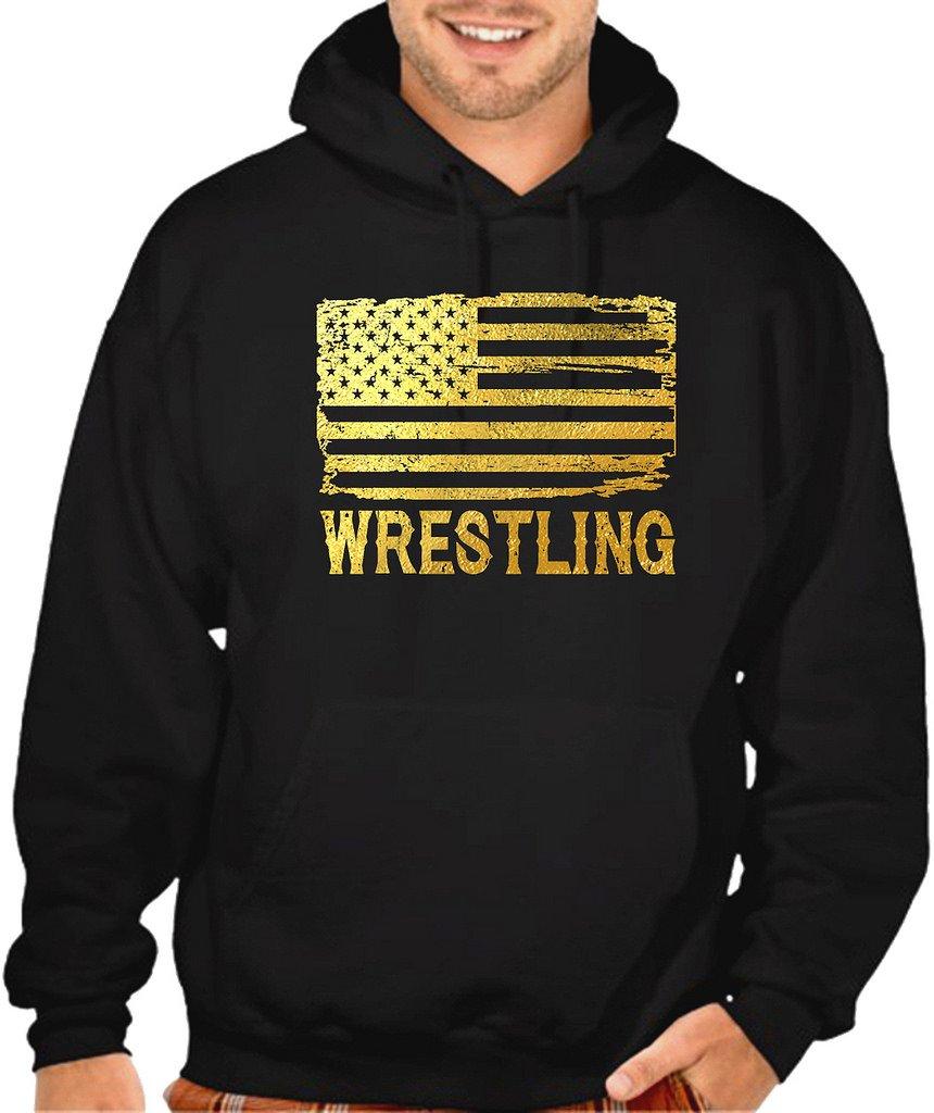 Interstate Apparel Men's Gold Foil Wrestling American Flag Black Pullover Hoodie Sweater Small Black