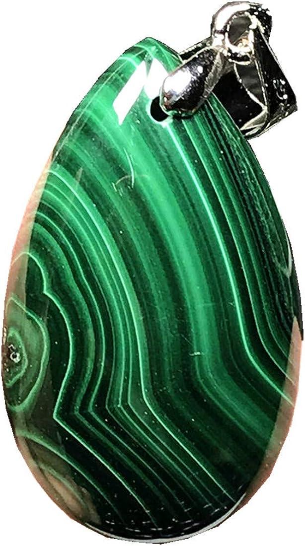 DUOVEKT Collar Colgante Natural Verde Malaquita Joyería para Mujeres Hombres Cristal Plata 27x18x6mm Perlas Gota Agua Piedra Piedra Piedra AAAAA