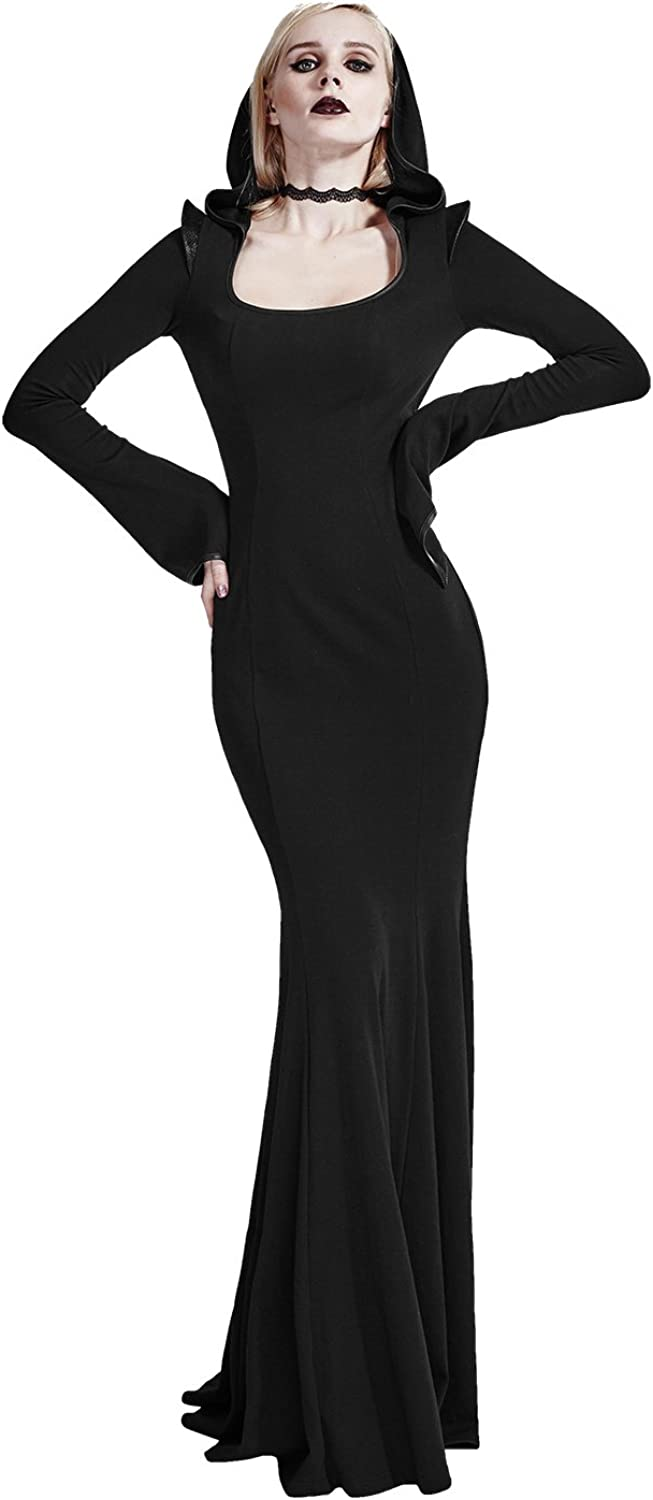 Punk Long Sleeve Dress Black Tunic Dresses for Women Flared Stretchy Scoop Neck Hoodie Dress