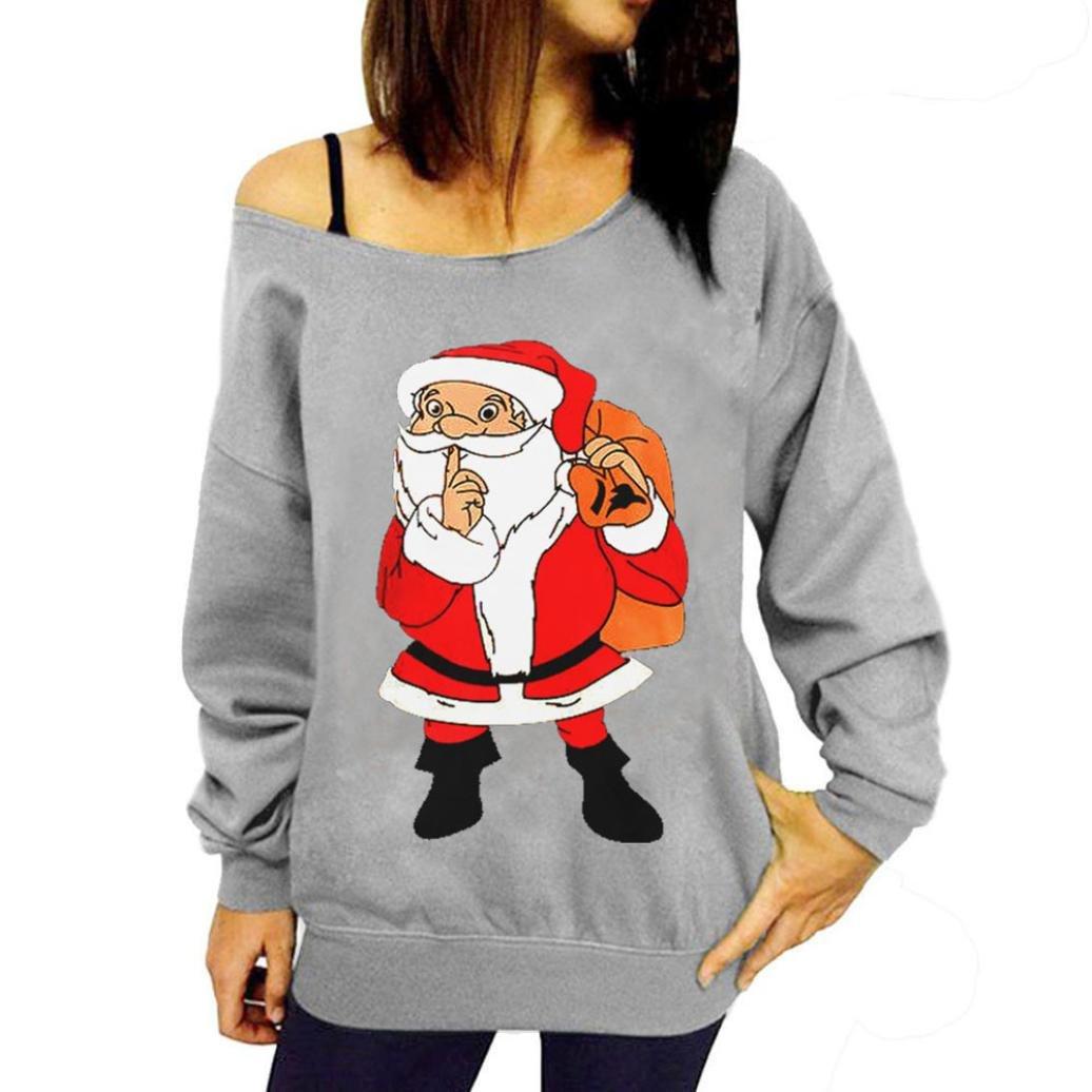 Camiseta de Navidad de Sonnena de manga larga con estampado de Navidad negro Gray 1 extra-Large