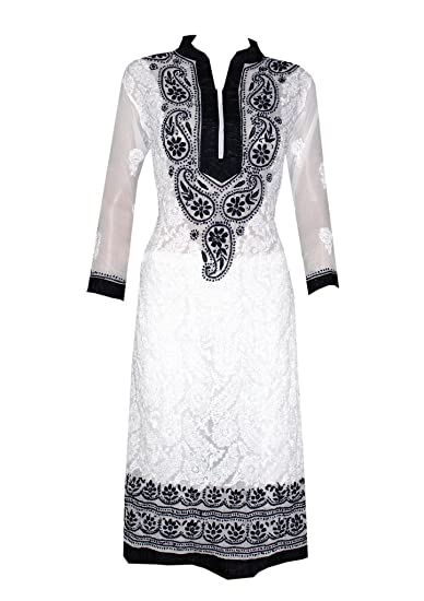 Lucknow Chikankari Georgette  Black Hand Embroidered Kurta Tunic Bust 40 Large