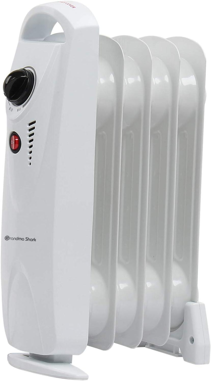 Grandma Shark Radiador de Aceite, Calentador eléctrico portátil con Temperatura Ajustable - Blanco (500W/5Fin)