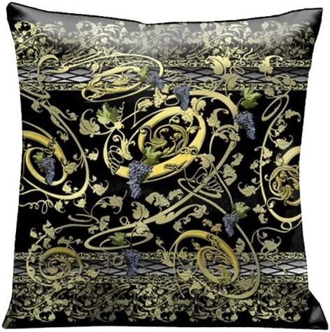 Lama Kasso Como Gardens Grape Vine Swirls of Gold and Green on a Black Micro-Suede 18-Inch Square Pillow, Design on Both Sides