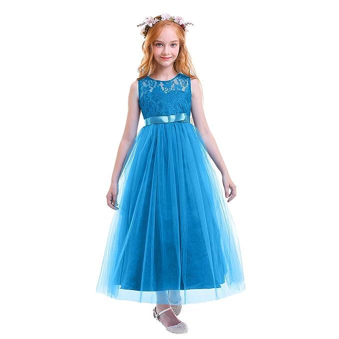344a750e6 OBEEII Vestido Elegante de Niña Vestidos Floral Largos de Encaje Ropa Verano  Disfraz de princesa para