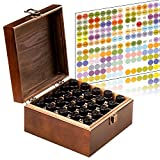 MP Stained and Finished Essential Oil Storage Box Holds 25 Bottles (Sizes 5-15ml) & 10ml Roller Bottles - 192 Free Essential Oil Labels - Foam Base to Protect The Glass On Your Bottles (Brown)