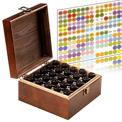 Stained and Finished Essential Oil Storage Box - Holds 25 Bottles (Sizes 5-15ml) & 10ml Roller Bottles - 192 Free EO Labels - Wooden Oil Case Holder (Brown)