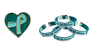 1 Teal Awareness Ribbon Heart Pin And Cuff Bracelet Support Ovarian Cancer