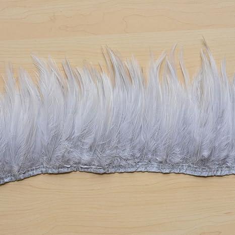 Hackle feather fringe of ivory color 2 meter trim