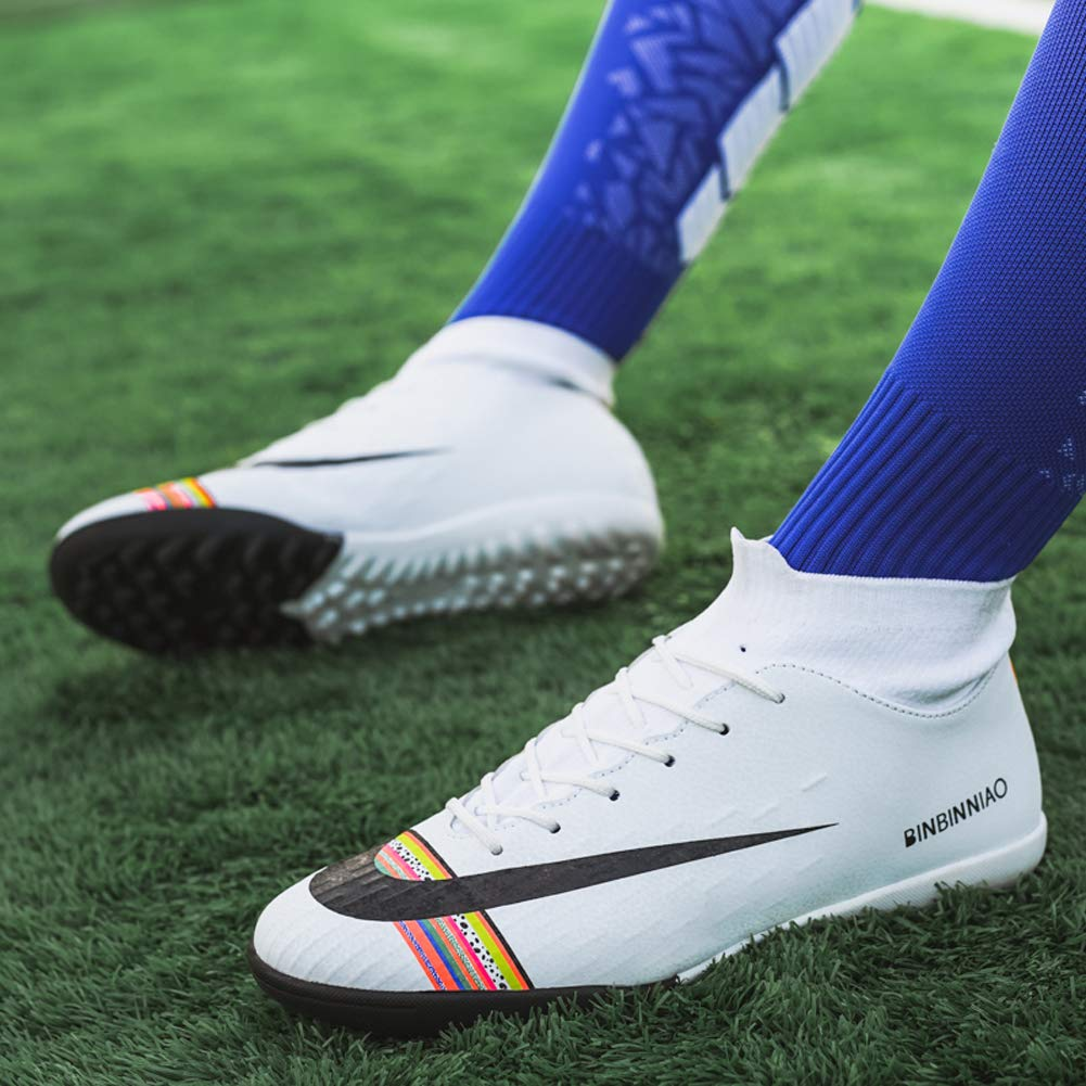 Outdoor Training TF//AG Men Size High Top Ankle Boots Colorful Ribbon for Women Messi Turf Indoor Youth Football Shoes CR Soccer Shoes for Big Boy