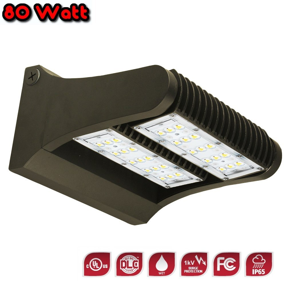 LED Adjustable Wall Pack Light - 80 Watt - 4000K - 10,598 Lumens - DLC Premiuim - UL Listed - IP65 Rated - 360 Degree Rotation - Energy Efficient - Perfect for Perimeter and Area Lighting