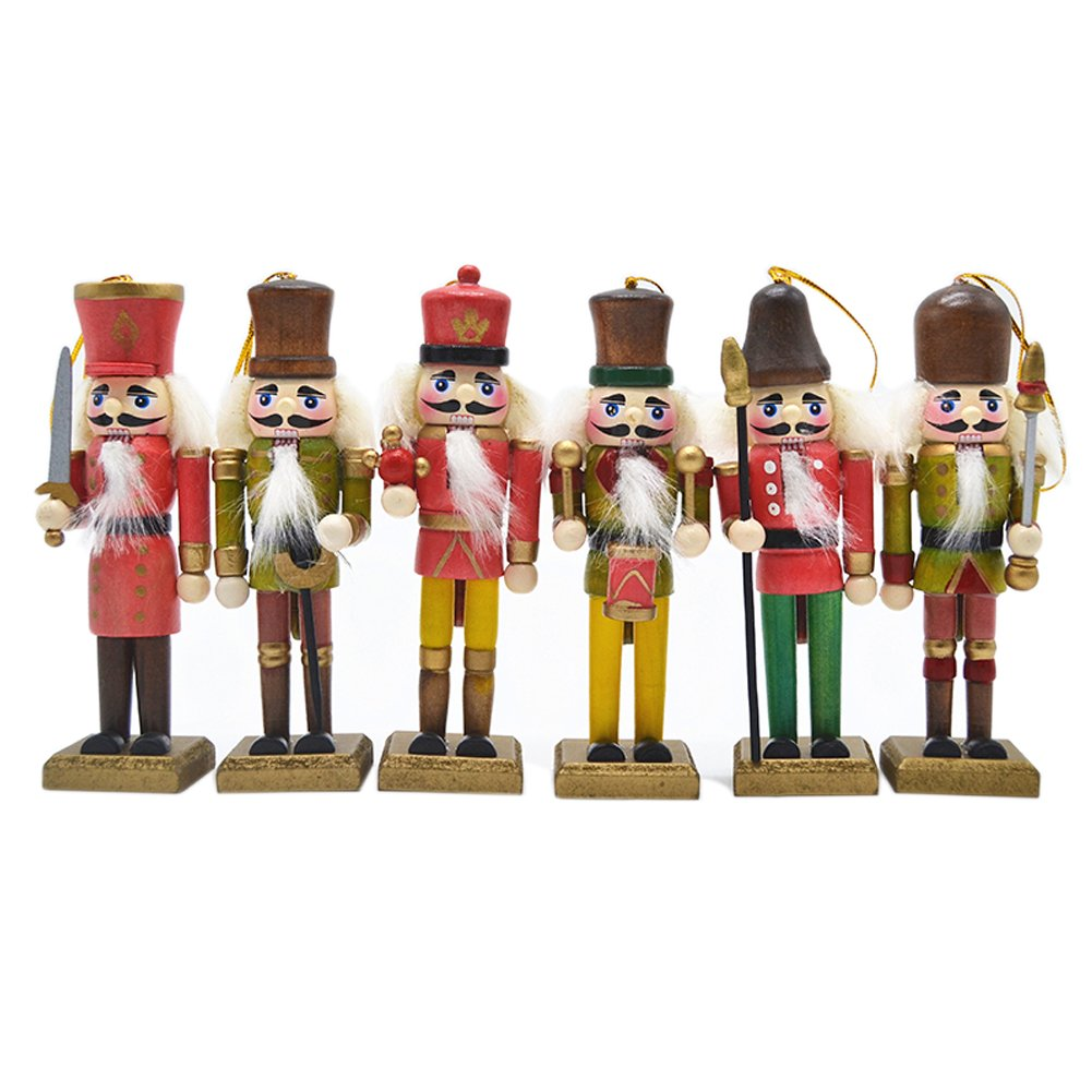 "Anlydia 5pcs or 6pcs Wooden Nutcracker Ornament Set Handpainted Assorted Set Christmas Gift 5"" Tall Christmas Home Ornament Set"