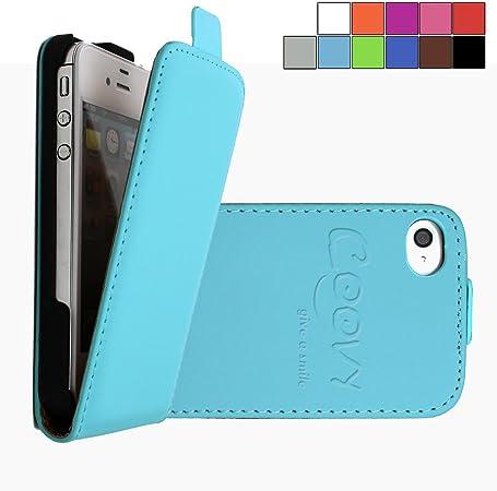 COOVY® Étui pour Apple iPhone 4 / 4s Slim Flip Coque Housse Étui de Protection Fin à clapet avec écran de Protection | Couleur Bleu Clair