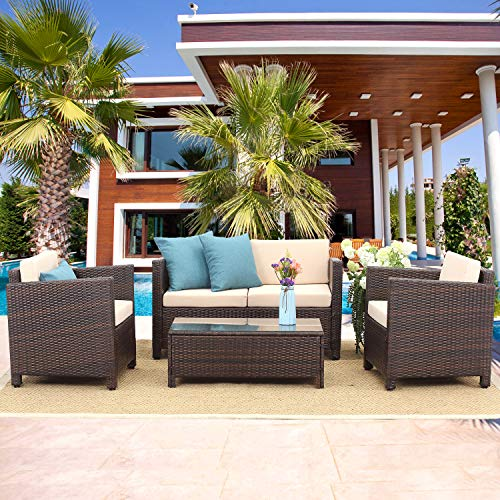Wisteria Lane Outdoor Patio Furniture Set,4 Piece Conversation Set Wicker Sectional Sofa Loveseat Chair Brown Wicker,Beige Cushions