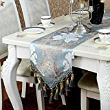 DIDIDD Blue abstract style handmade tablerunners artistic top decoration dining table runner(30180cm,30200cm),30180Cm