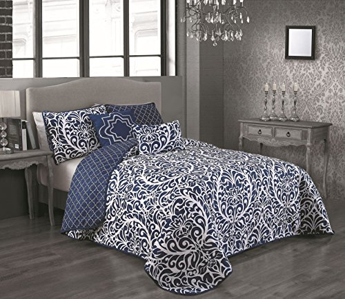 Avondale Manor 5 Piece Madera Quilt Set, Queen, Blue